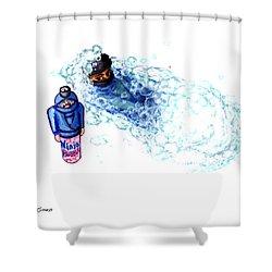 Ninja Stealth Disappears Into Bubble Bath Shower Curtain by Del Gaizo