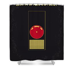 No003 My 2001 A Space Odyssey 2000 Minimal Movie Poster Shower Curtain by Chungkong Art