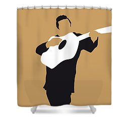 No010 My Johnny Cash Minimal Music Poster Shower Curtain by Chungkong Art