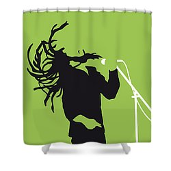 No016 My Bob Marley Minimal Music Poster Shower Curtain by Chungkong Art