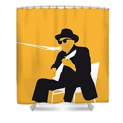 No054 My Johnny Lee Hooker Minimal Music Poster Shower Curtain by Chungkong Art
