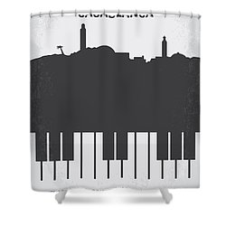 No192 My Casablanca Minimal Movie Poster Shower Curtain by Chungkong Art