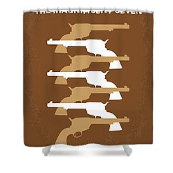 No197 My The Magnificent Seven Minimal Movie Poster Shower Curtain by Chungkong Art