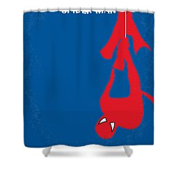 No201 My Spiderman Minimal Movie Poster Shower Curtain by Chungkong Art