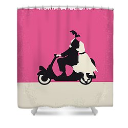 No205 My Roman Holiday Minimal Movie Poster Shower Curtain by Chungkong Art