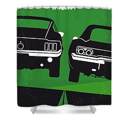 No214 My Bullitt Minimal Movie Poster Shower Curtain by Chungkong Art