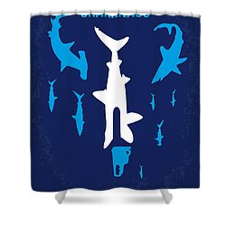No216 My Sharknado Minimal Movie Poster Shower Curtain by Chungkong Art