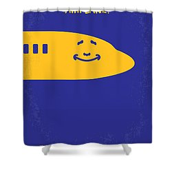 No392 My Airplane Minimal Movie Poster Shower Curtain by Chungkong Art