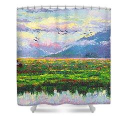 Nomad - Alaska Landscape With Joe Redington's Boat In Knik Alaska Shower Curtain by Talya Johnson