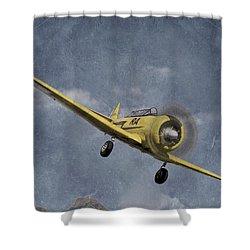 North American T6 Vintage Shower Curtain by Debra and Dave Vanderlaan