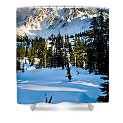 North Cascades Winter Shower Curtain by Inge Johnsson