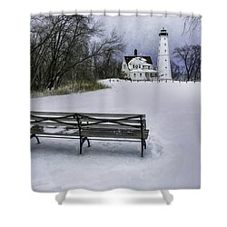 North Point Lighthouse And Bench Shower Curtain by Scott Norris