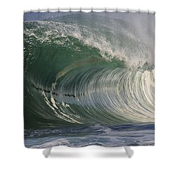North Shore Powerful Wave Shower Curtain by Vince Cavataio