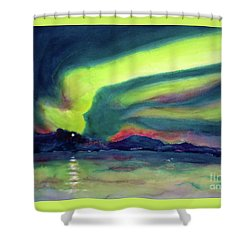 Northern Lights On Superior Shores Shower Curtain by Kathy Braud