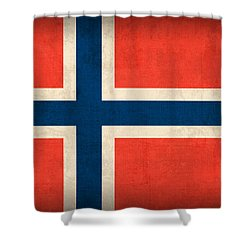 Norway Flag Distressed Vintage Finish Shower Curtain by Design Turnpike
