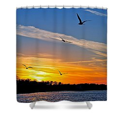 November Sunset Ia Shower Curtain by Frozen in Time Fine Art Photography