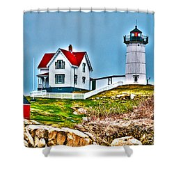 Nubble Lighthouse Cape Neddick Maine 2 Shower Curtain by Glenn Gordon