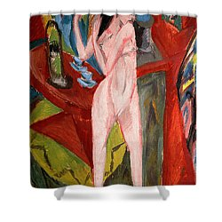 Nude Woman Combing Her Hair Shower Curtain by Ernst Ludwig Kirchner