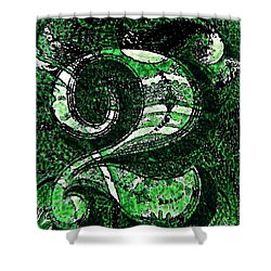 Number Two In Green  Shower Curtain by Chris Berry