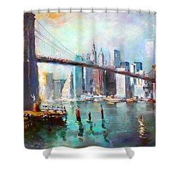 Ny City Brooklyn Bridge II Shower Curtain by Ylli Haruni