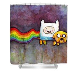 Nyan Time Shower Curtain by Olga Shvartsur