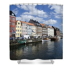 Nyhavn - Copenhagen Denmark Shower Curtain by Jon Berghoff