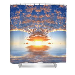 Ocean At Sunset Shower Curtain by Michal Bednarek