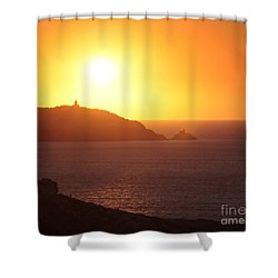 Ocean Sunset  Shower Curtain by Pixel Chimp