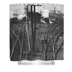 Off To Work Shower Curtain by J D Owen