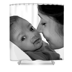 Oh Mom Shower Curtain by Lisa Phillips