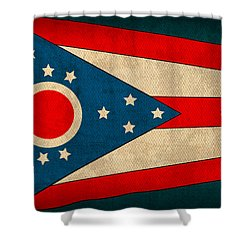 Ohio State Flag Art On Worn Canvas Shower Curtain by Design Turnpike