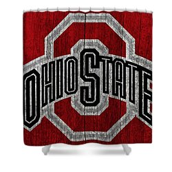 Ohio State University On Worn Wood Shower Curtain by Dan Sproul