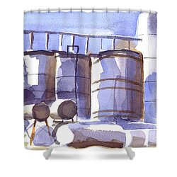 Oil Depot In April Shower Curtain by Kip DeVore