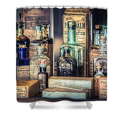 Ointments Tonics And Potions - A 19th Century Apothecary Shower Curtain by Gary Heller