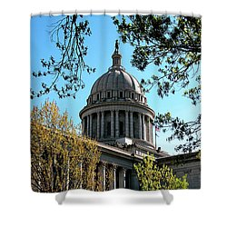 Oklahoma City Capitol In The Spring Shower Curtain by Toni Hopper
