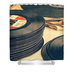 Old 45s Shower Curtain by Edward Fielding