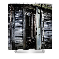 Old Abandoned Well House With Door Ajar Shower Curtain by Edward Fielding