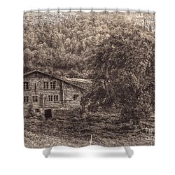 Old And Abandoned - Sepia Shower Curtain by Hanny Heim