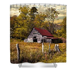 Old Barn In Autumn Shower Curtain by Debra and Dave Vanderlaan