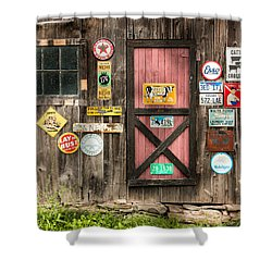 Old Barn Signs - Door And Window - Shadow Play Shower Curtain by Gary Heller