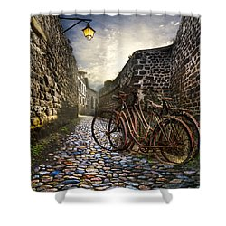 Old Bicycles On A Sunday Morning Shower Curtain by Debra and Dave Vanderlaan
