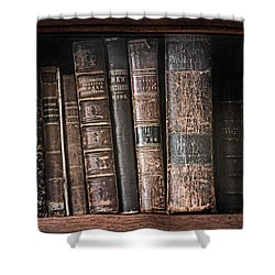 Old Books On The Shelf - 19th Century Library Shower Curtain by Gary Heller