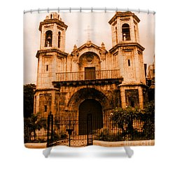 Old Colonial Church In Varadero Cuba Shower Curtain by John Malone
