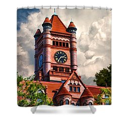 Old Dupage County Courthouse Clouds Shower Curtain by Christopher Arndt