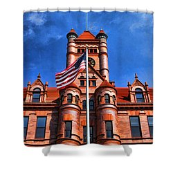 Old Dupage County Courthouse Flag Shower Curtain by Christopher Arndt