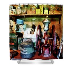 Old-fashioned Coffee Grinder Shower Curtain by Susan Savad