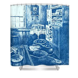 Old Fashioned Kitchen In Blue Shower Curtain by Kendall Kessler