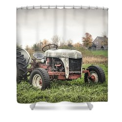 Old Ford Tractor And Farm House Shower Curtain by Gary Heller