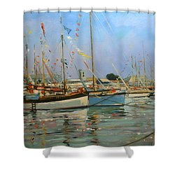 Old Gaffers  Yarmouth  Isle Of Wight Shower Curtain by Jennifer Wright