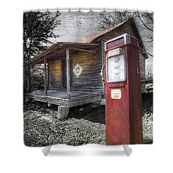 Old Gas Pump Shower Curtain by Debra and Dave Vanderlaan